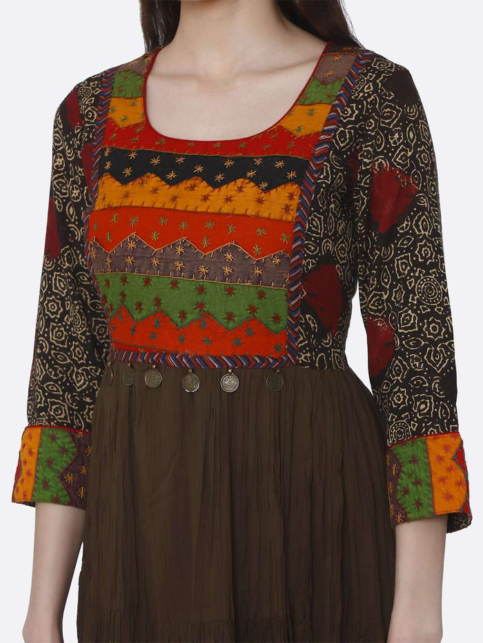 Embroidered Viscose Cotton Flared Dress With Brown Color