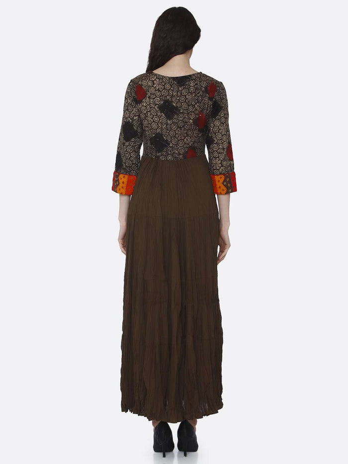 Back Side Brown Embroidered Viscose Cotton Flared Dress