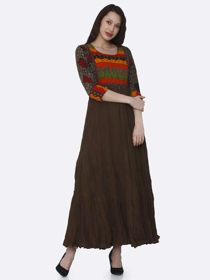Right Side Brown Embroidered Viscose Cotton Flared Dress