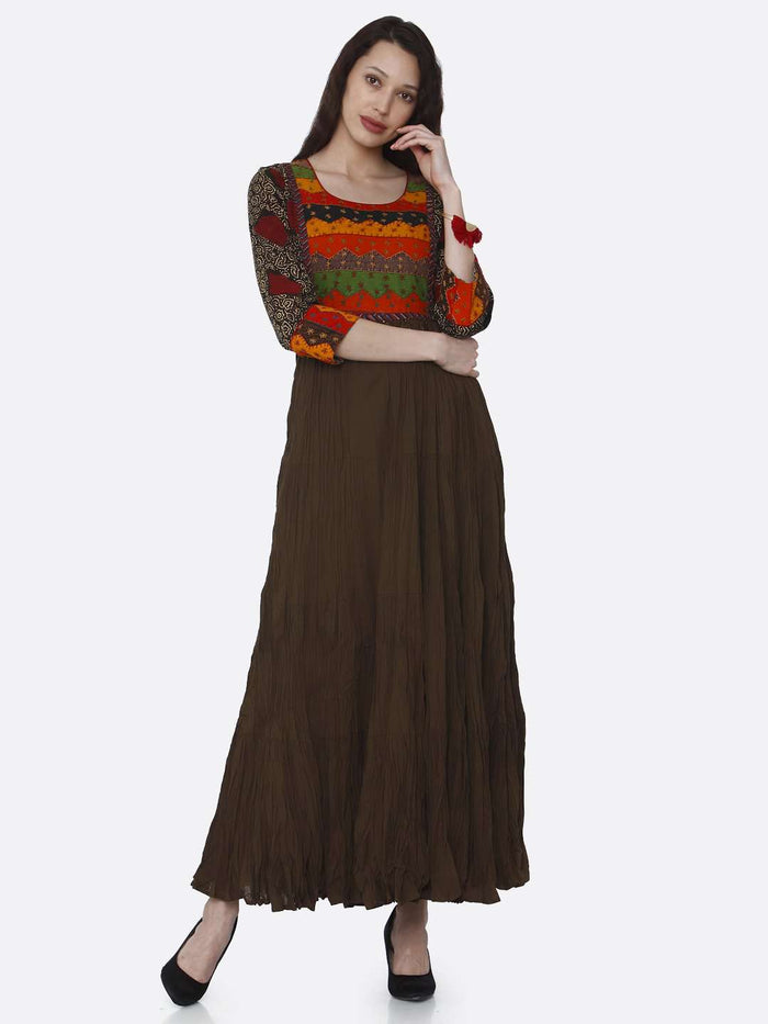Front Side Brown Embroidered Viscose Cotton Flared Dress