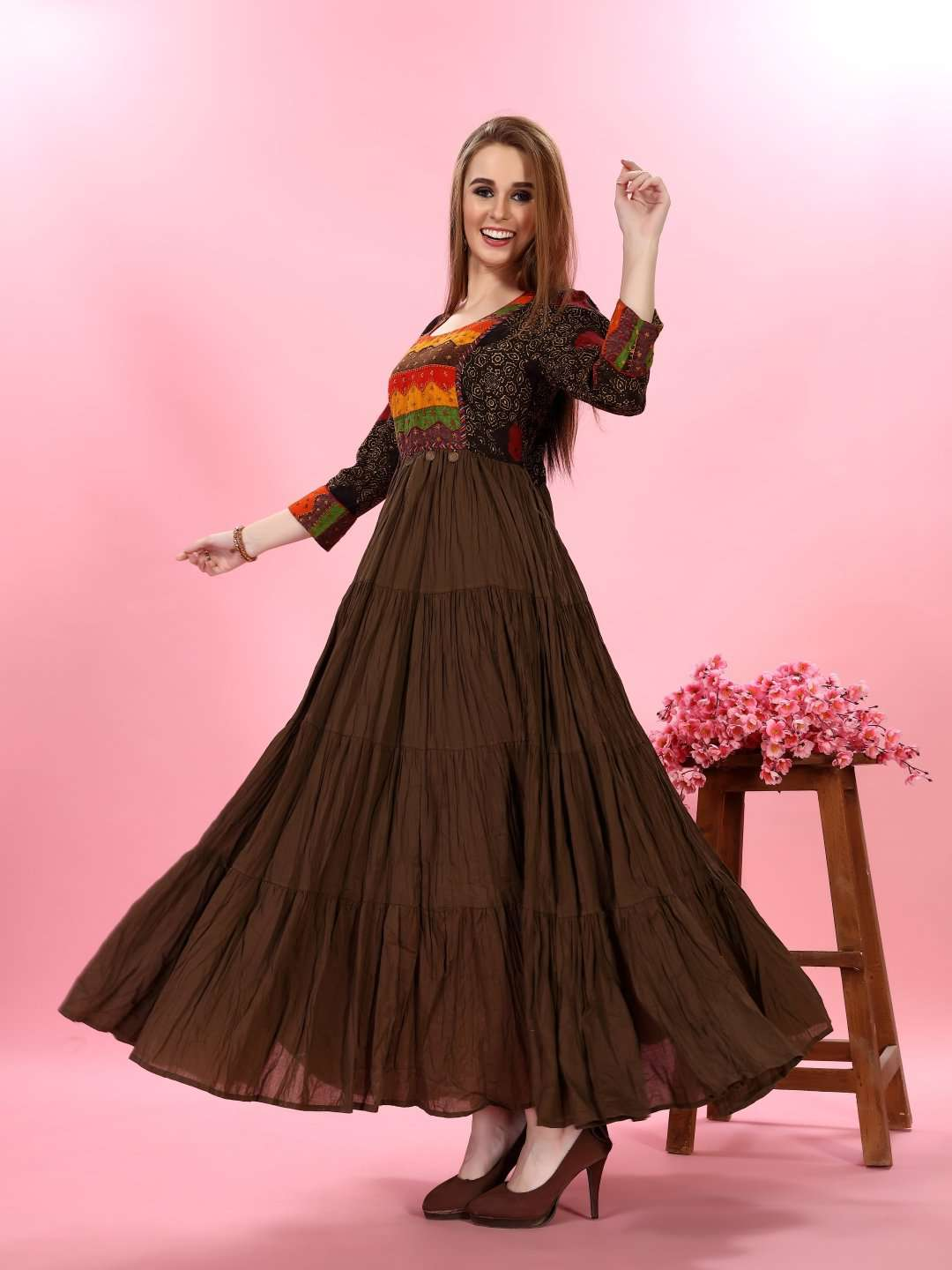 Left Side Brown Embroidered Viscose Cotton Flared Dress