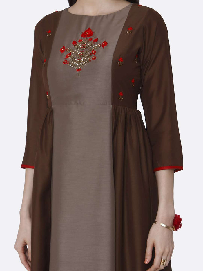 Front Side Brown Embroidered Viscose Long Kurti