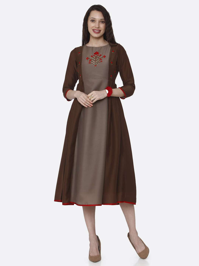 Casual Embroidered Viscose Long Kurti With Brown Color