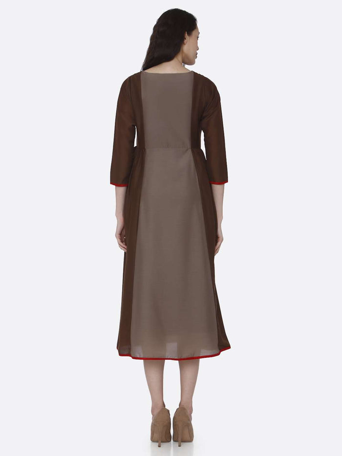 Back Side Embroidered Viscose Long Kurti With Brown Color