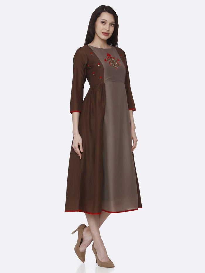 Right Side Embroidered Viscose Long Kurti With Brown Color