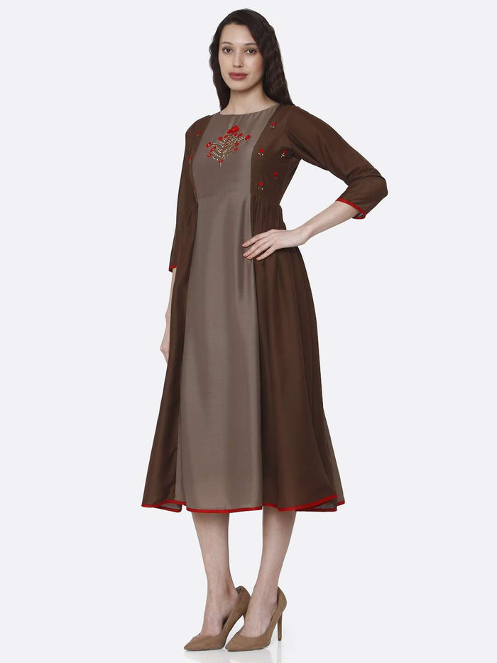 Left Side Embroidered Viscose Long Kurti With Brown Color