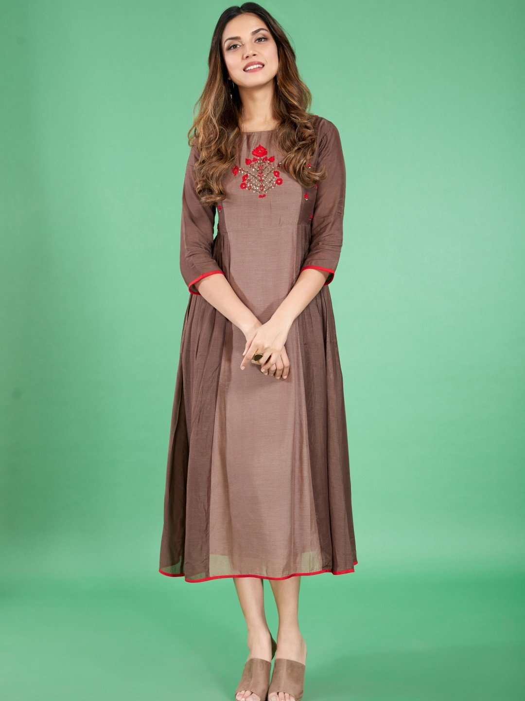 Front Side Embroidered Viscose Long Kurti With Brown Color