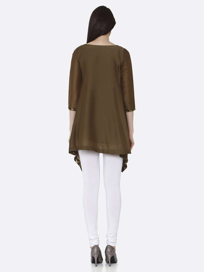 Back Side Brown Plain Muslin Viscose Asymmetric Tunic With White Palazzo