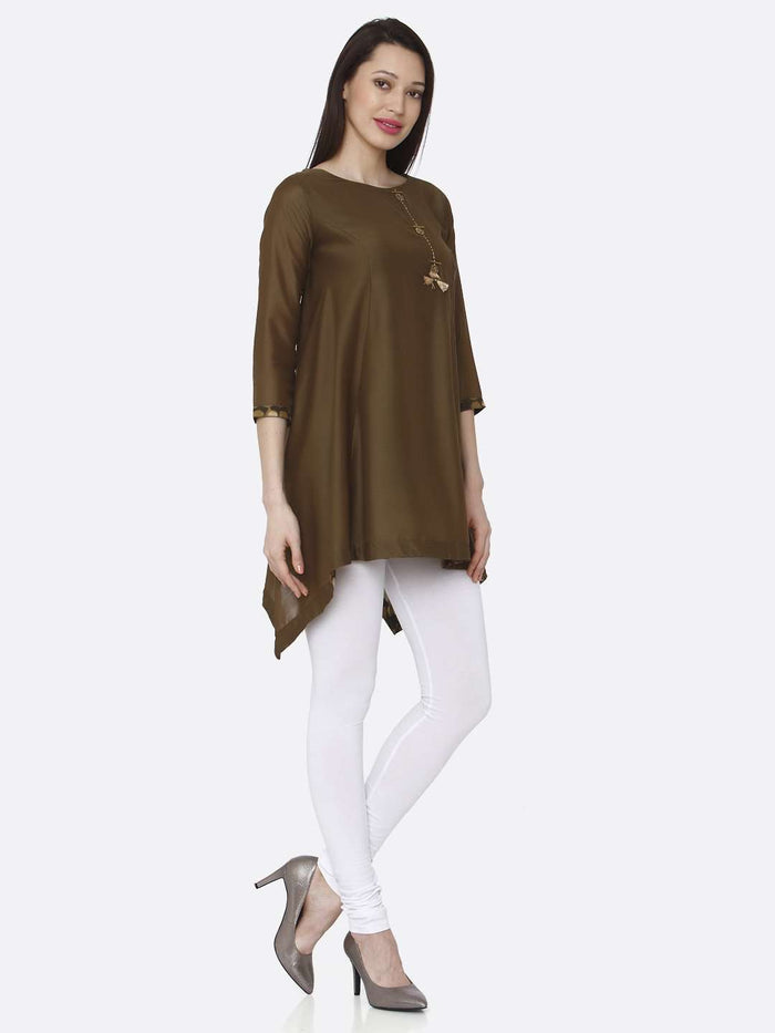 Right Side Casual Brown Plain Muslin Viscose Asymmetric Tunic With White Palazzo