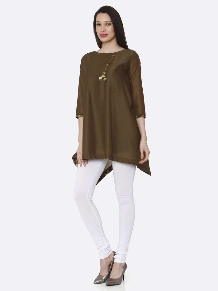 Left Side Casual Brown Plain Muslin Viscose Asymmetric Tunic With Brown Color
