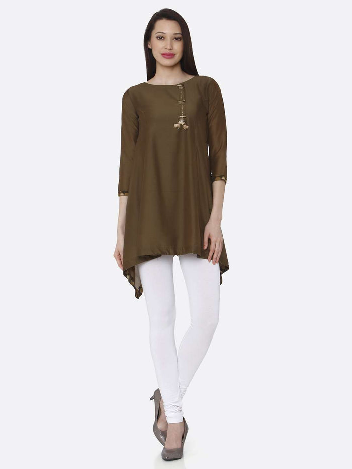 Front Side Casual Brown Plain Muslin Viscose Asymmetric Tunic With White Palazzo