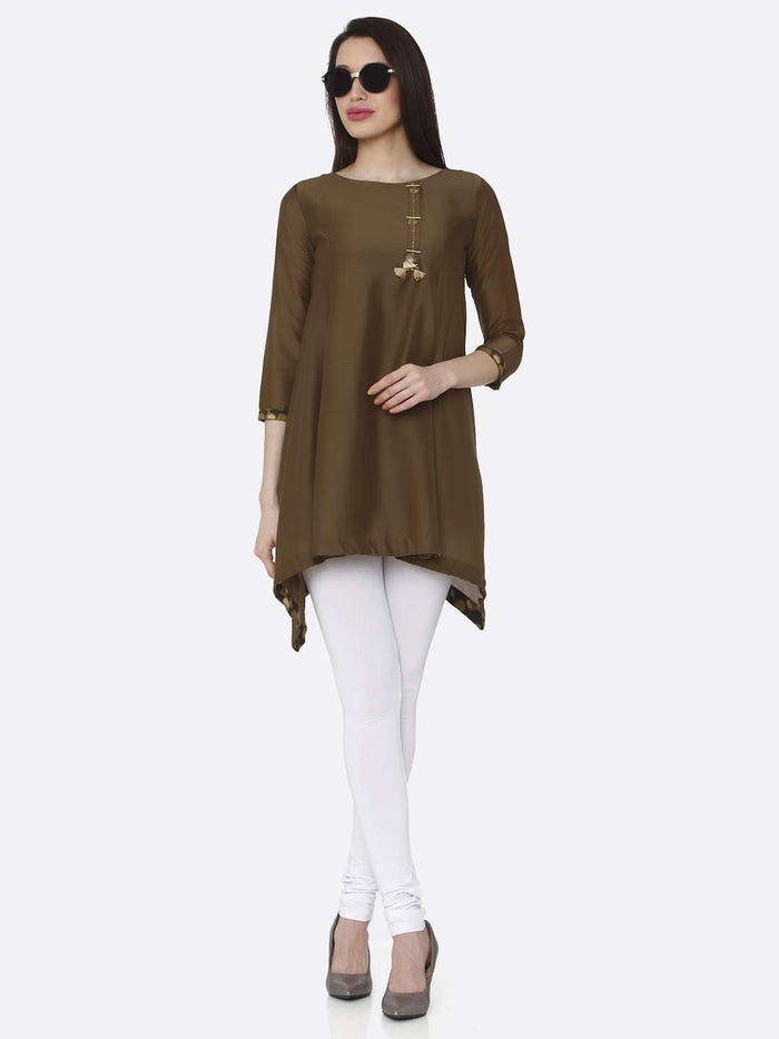 Full Front Side Brown Plain Muslin Viscose Asymmetric Tunic With White Palazzo