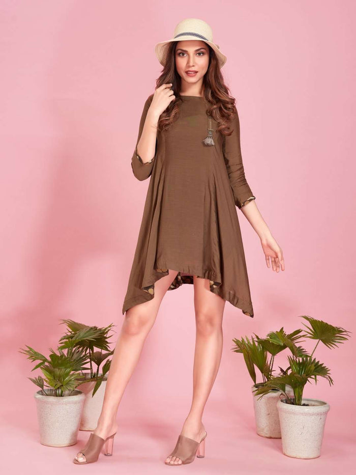 Brown Plain Muslin Viscose Asymmetric Tunic
