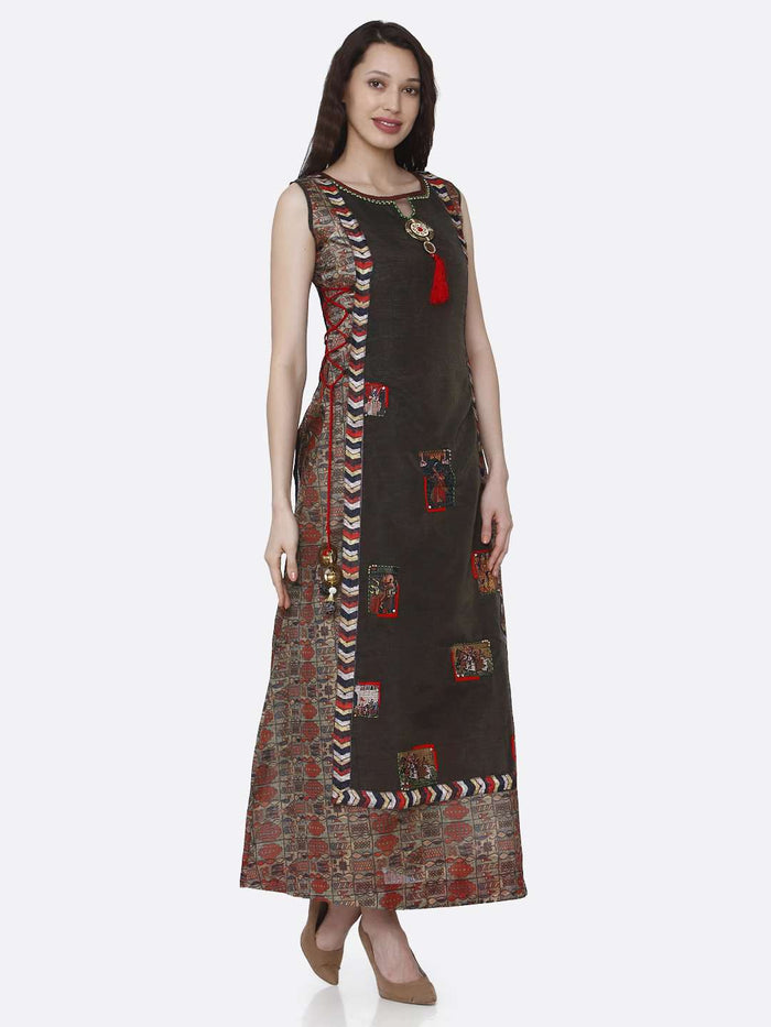 Right Side Printed Chanderi & Rayon Long Kurti With Brown Color