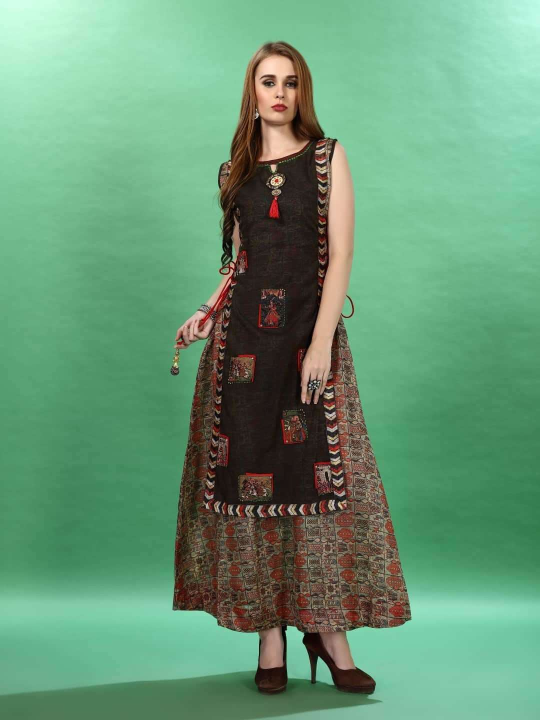 Front Side Printed Chanderi & Rayon Long Kurti With Brown Color