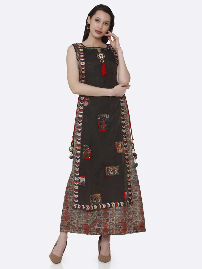 Casual Printed Chanderi & Rayon Long Kurti With Brown Color