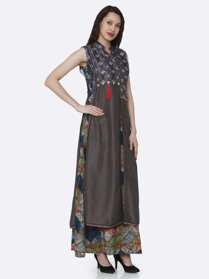 Right Side Rayon & Chanderi Printed Long Kurti With Charcoal Brown Color