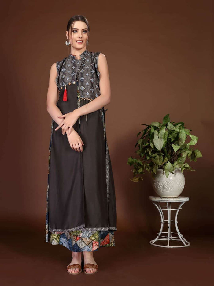 Front Side Rayon & Chanderi Printed Long Kurti With Charcoal Brown Color