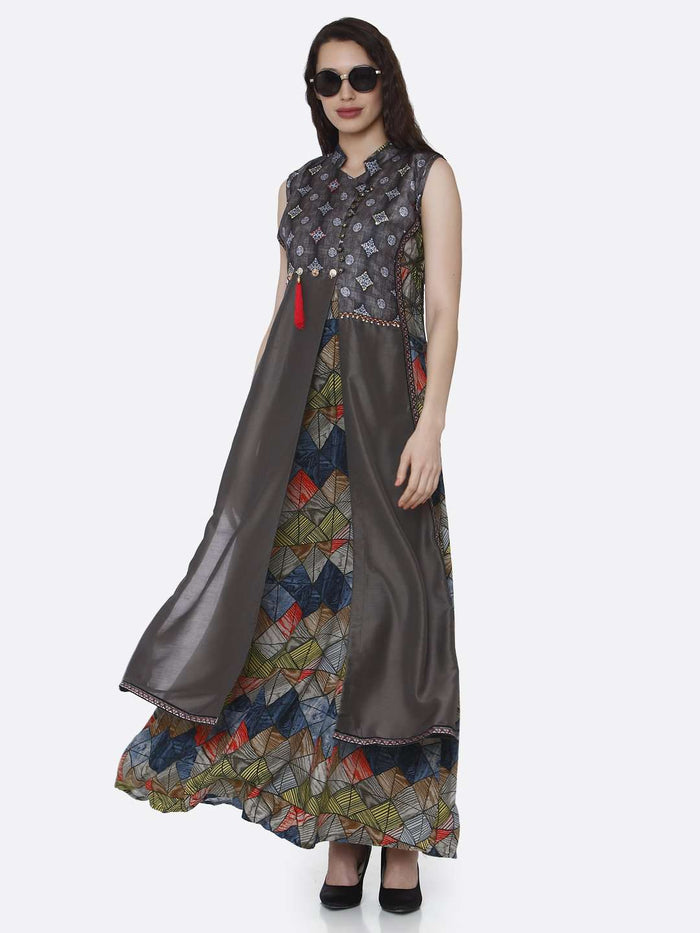 Casual Rayon & Chanderi Printed Long Kurti With Charcoal Color