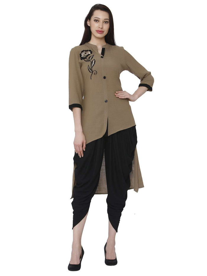 Front Side Brown Black Rayon Solid Dhoti Set