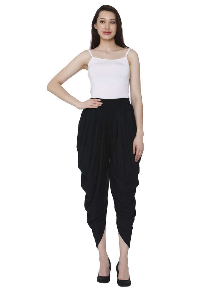Front Side Rayon Solid Dhoti Pant With Black Color
