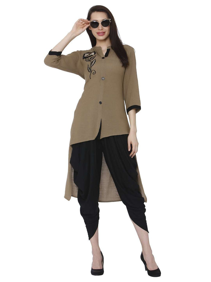 Casual Brown Black Rayon Solid Dhoti Set