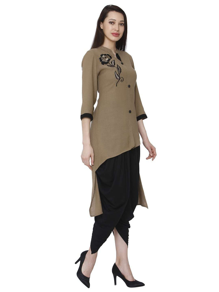 Right Side Brown Black Rayon Solid Dhoti Set
