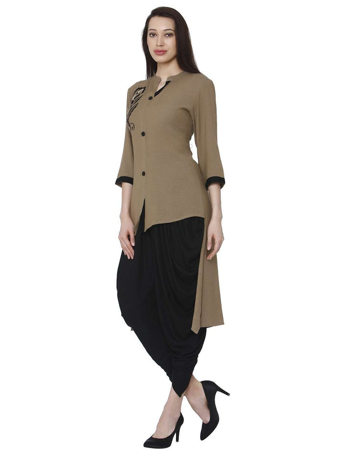 Left Side Brown Black Rayon Solid Dhoti Set