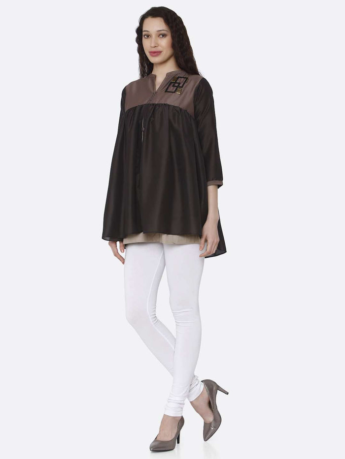 Front Side Casual Viscose Flared Tunic Kurti With Brown & Charcoal Grey Color