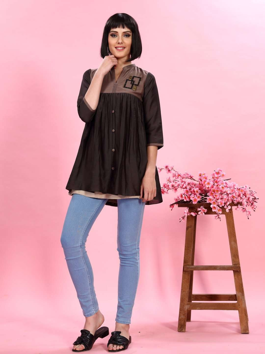 Brown and Charcoal Grey Viscose Flared Tunic Kurti