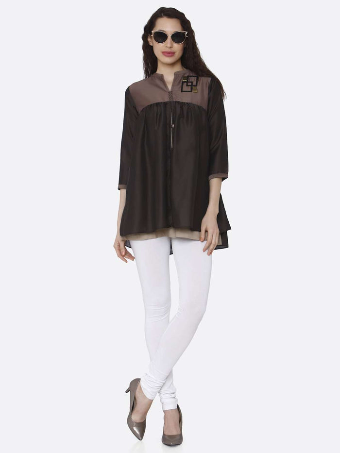 Full Front Side Brown and Charcoal Grey Viscose Flared Tunic Kurti With White Palazzo