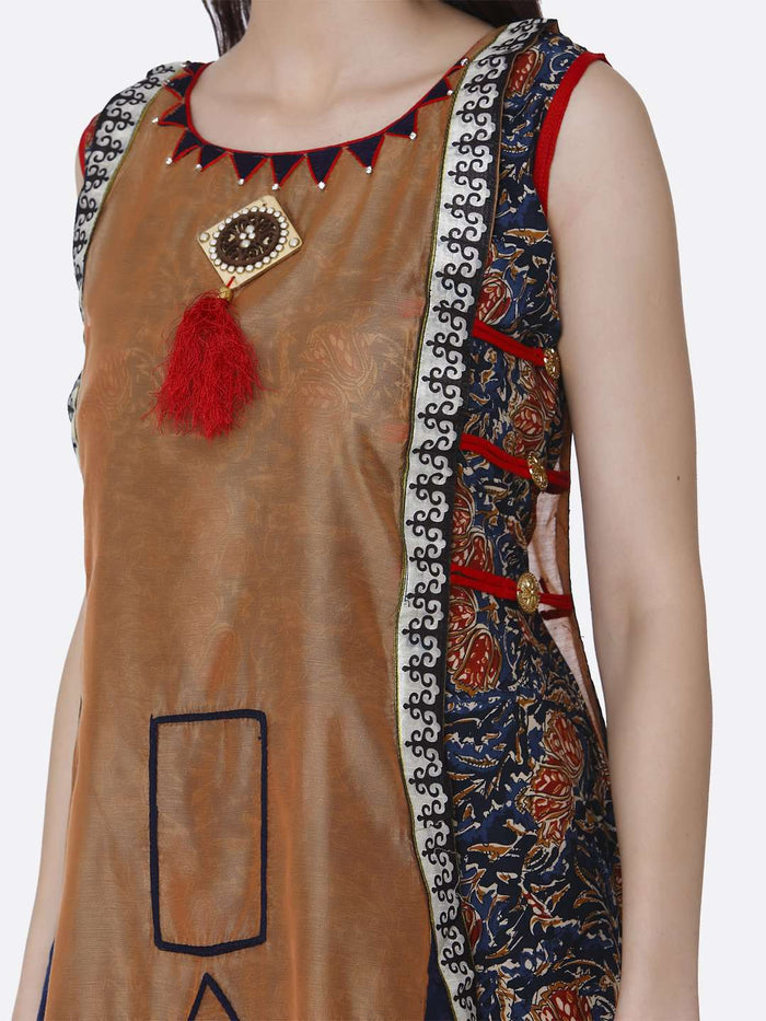 Brown and Navy Blue Rayon Printed Kurti