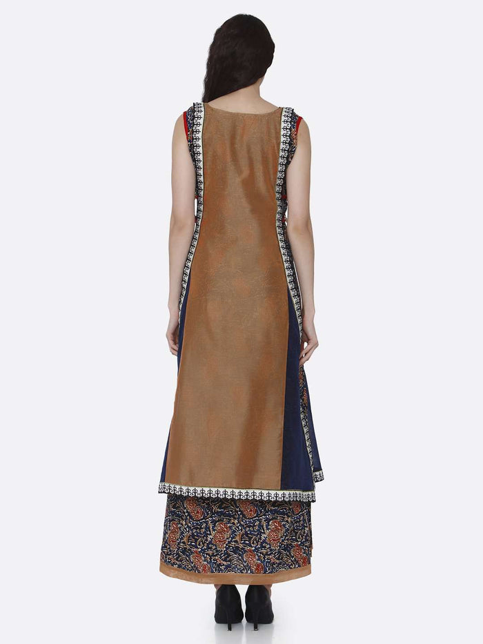 Back Side Rayon Printed Kurti With Brown & Navy Blue Color