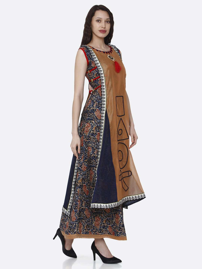 Right Side Rayon Printed Kurti With Brown & Blue Color