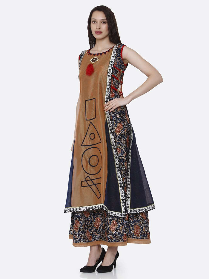 Left Side Rayon Printed Kurti With Brown & Navy Blue Color