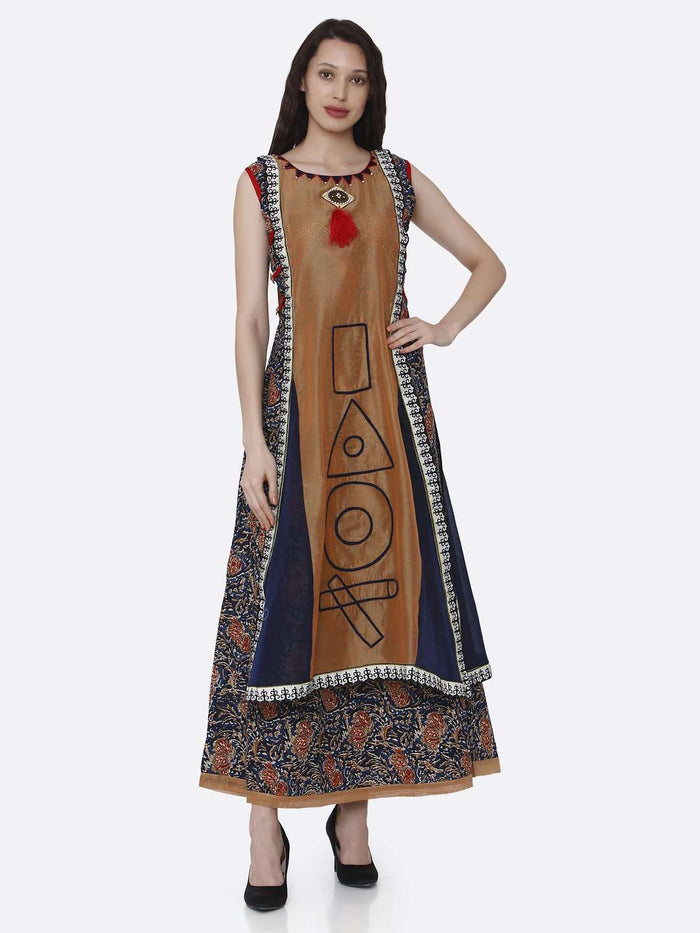 Rayon Printed Kurti With Brown & Navy Blue Color