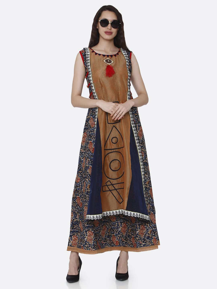 Casual Rayon Printed Kurti With Brown & Navy Blue Color