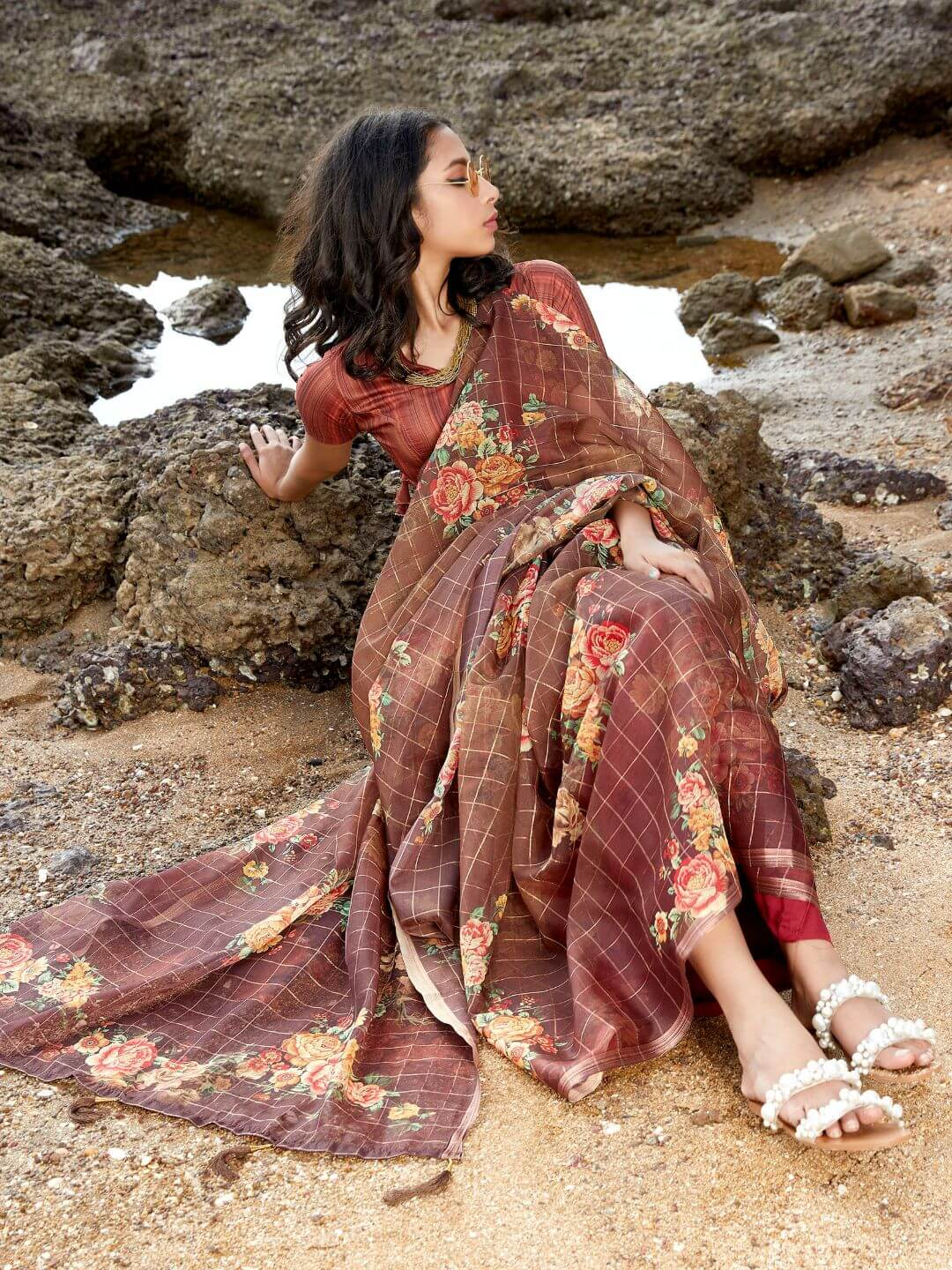 Front Side Brown Floral Digital Print Organza Jari Checks Saree