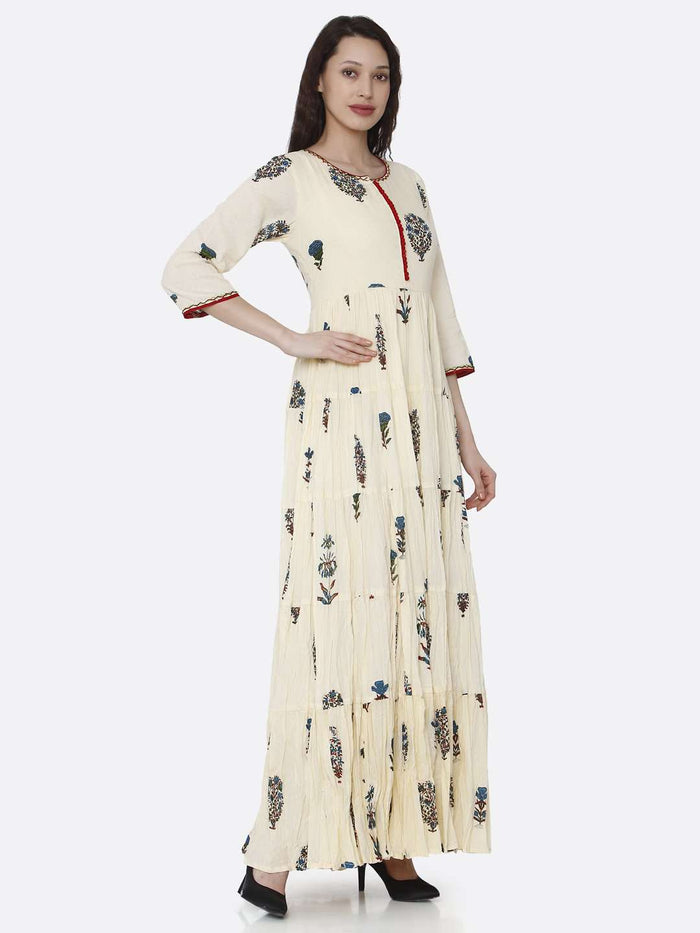 Right Side Cream Cotton Printed Dress