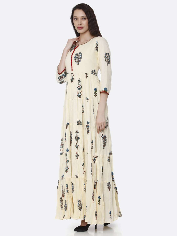Left Side Cream Cotton Printed Dress