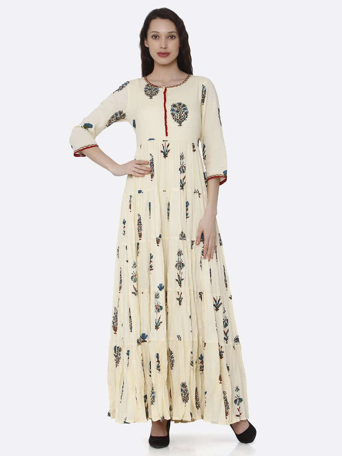 Front Side Cotton Printed Dress With Cream Color