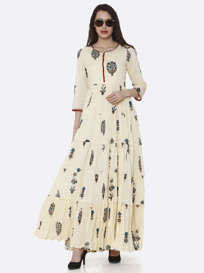 Casual Cream Cotton Printed Dress