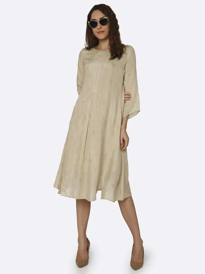Cream Embroidered Muslin Georgette Kurti
