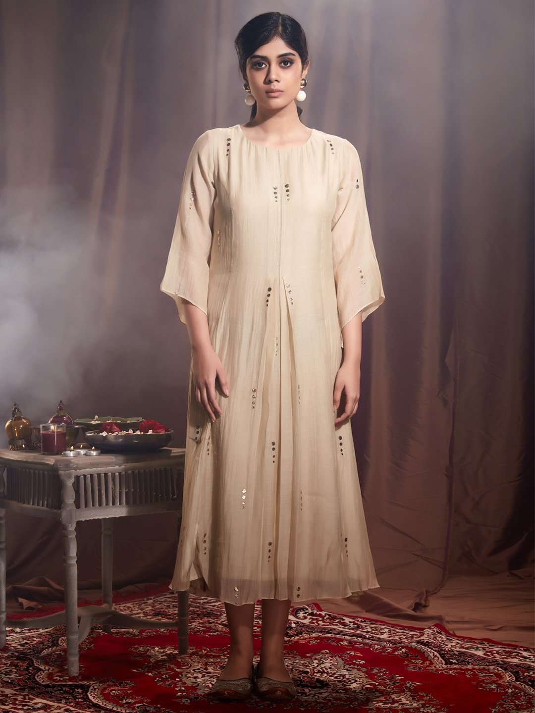 Front Side Embroidered Muslin Georgette Kurti With Cream Color