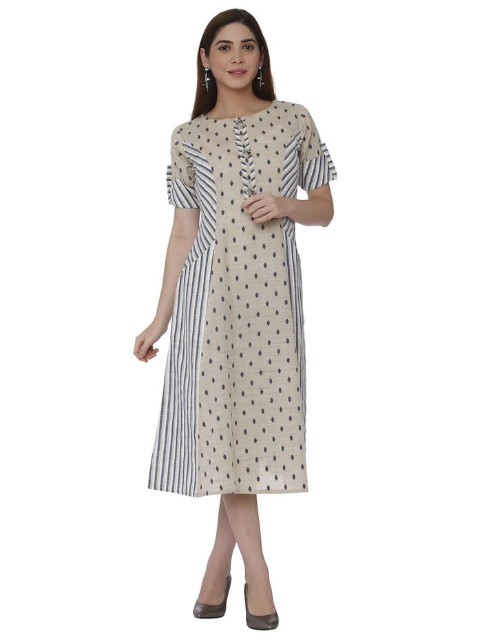 Front Side Handloom Cotton Kurti With Cream Color