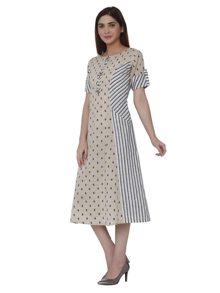 Left Side Handloom Cotton Kurti With Cream Color