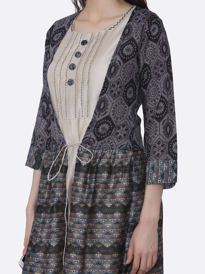 Left Side Rayon Kurti With Long Jacket