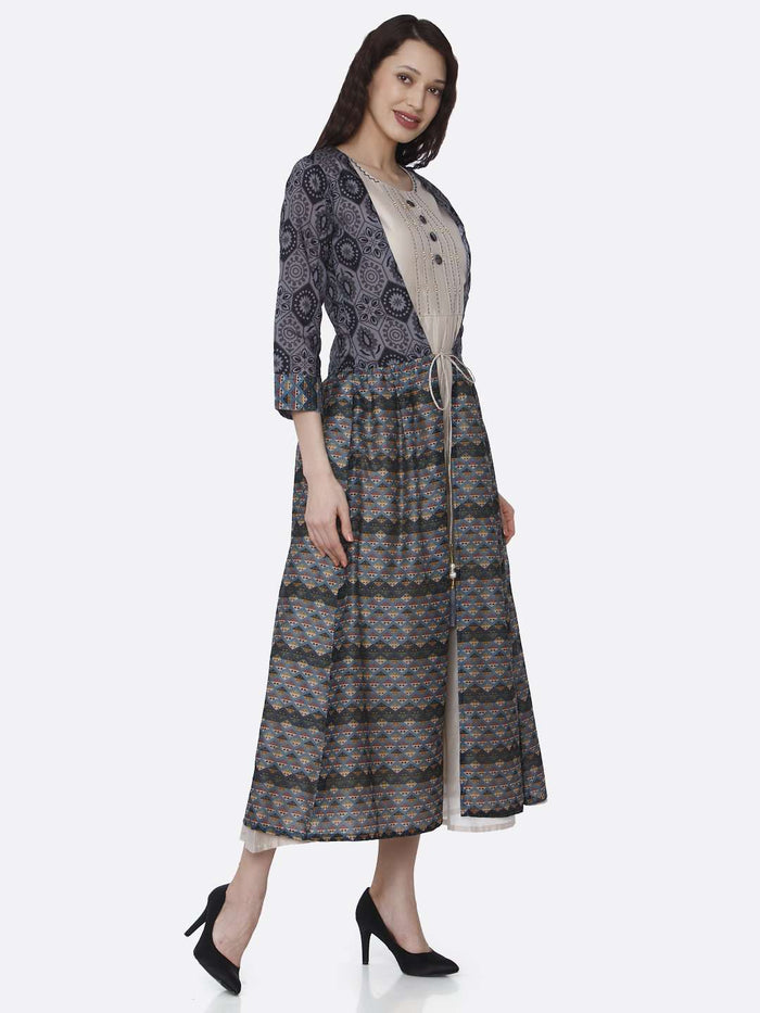 Right Side Cream Plain Rayon Kurti with Long Jacket
