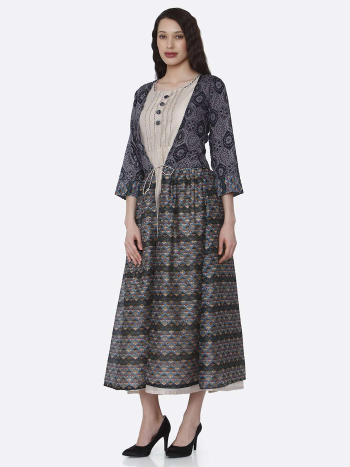 Left Side Cream Plain Rayon Kurti with Long Jacket