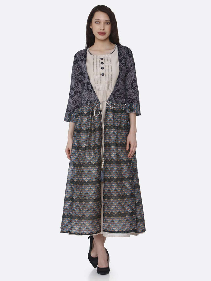 Front Side Cream Plain Rayon Kurti with Long Jacket